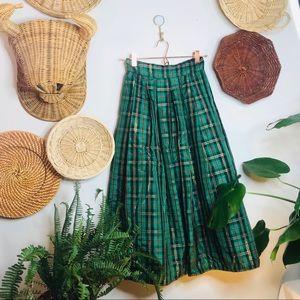 vintage retro tartan high waisted tulle midi skirt